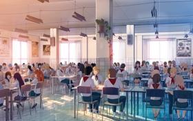 Картинка дети, стулья, аниме, арт, столы, столовая, лагерь