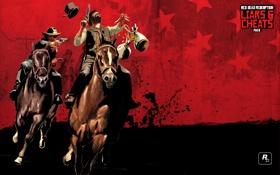 Картинка игры, лошадь, выстрел, револьвер, стрелок, Red Dead Redemption, rockstar