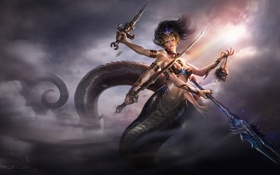 Картинка небо, девушка, облака, оружие, змея, меч, голова