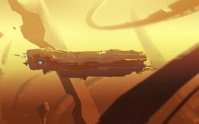 Обои обломки, космос, игра, корабль, арт, Homeworld