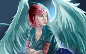 Обои взгляд, девушка, крылья, сидит