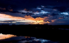 Картинка небо, деревья, пейзаж, природа, отражение, река, фото