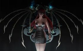 Обои девушка, крылья, демон, арт, рога, суккуб, succubus