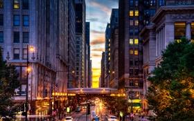 Обои Вечер, Чикаго, Небоскребы, USA, Chicago, skyline, nightscape