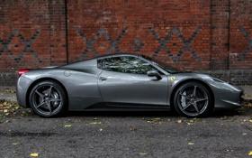 Обои Ferrari, 458, Grey, London, Supercars, Silverstone, Spider