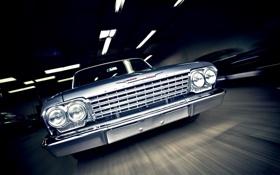 Обои машина, Chevrolet, классика, Bel Air, muscle car, 1962