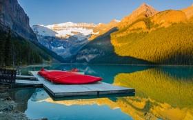 Обои Канада, деревья, горы, небо, озеро, лодки