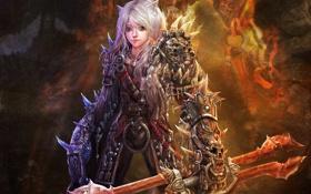 Картинка уши, арт, меч, разные глаза, девочка, кошка, оружие