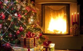 Картинка украшения, lights, огни, шары, елка, свечи, подарки