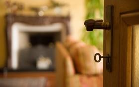 Обои комната, дверь, ключь
