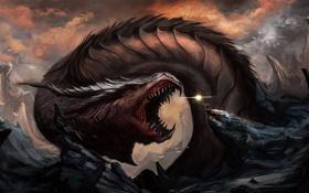 Картинка камни, JoasKleine, скалы, дракон, человек, гигантский, пасть
