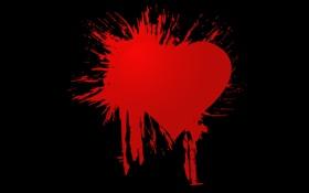 Обои брызги, клякса, фон, чёрный, сердца, форма