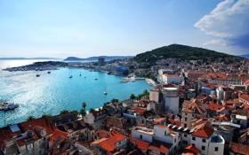 Картинка бухта, побережье, дома, Split, Хорватия, яхты, море