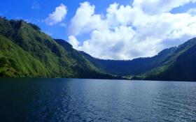 Обои горы, озеро, Индонезия, Sumatra, Lake Toba