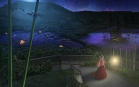 Обои девушка, звезды, ночь, огни, парк, бамбук, прогулка