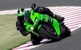 Обои байки, moto racing, спорт, мото обои, гонки, зелёный кавасаки, kawasaki