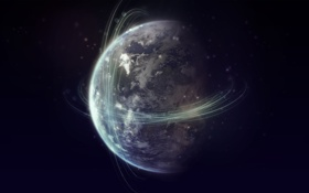 Картинка движение, земля, планета, траектория, спутники, витки