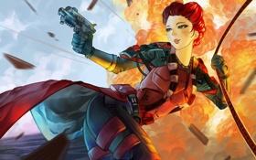 Картинка пистолет, костюм, солдат, девушка, взрыв, major debora, рыжая