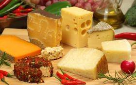 Картинка масло, сыр, виноград, редиска, красный перец