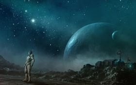 Картинка космос, звезды, планеты, робот, антенна, станция, арт