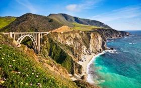 Обои дорога, море, мост, скалы, холмы