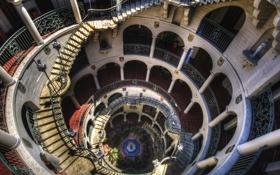 Картинка этажи, лестница, перила, колонны, Архитектура