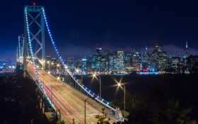 Картинка мост, Калифорния, Сан-Франциско, ночной город, California, San Francisco, Bay Bridge