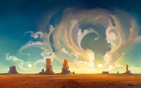 Картинка небо, облака, пейзаж, закат, природа, абстракция, скалы