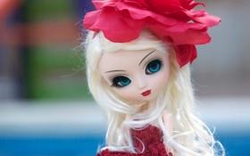 Картинка цветок, взгляд, игрушка, кукла, платье