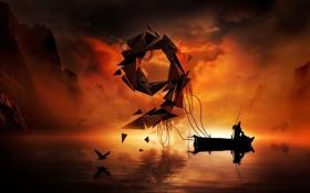Картинка лодка, nine, девять