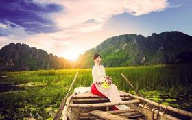 Картинка девушка, цветы, настроение, лодка, азиатка