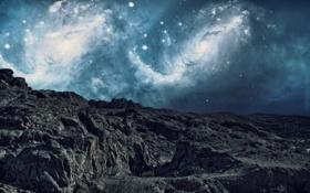 Обои звезды, гряда, фантастика, небо, горы, галактики