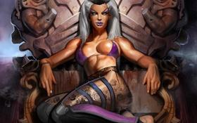 Картинка Sindel, девушка, Mortal Kombar, кровь, трон, поза