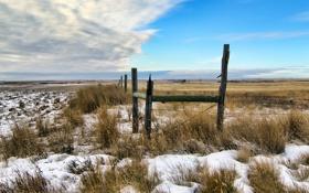 Обои поле, небо, забор, снег