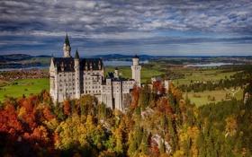 Обои осень, лес, скала, Германия, Бавария, Germany, Bavaria