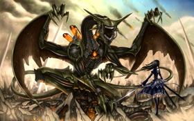 Картинка девушка, дракон, меч, аниме, art, Alice in wonderland, Gia