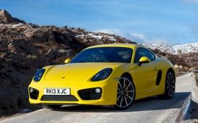 Обои Cayman S, Porsche, передок, yellow, машина, обои