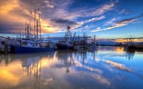 Обои пейзаж, закат, корабли, порт