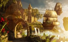 Картинка небо, девушка, закат, цветы, мост, замок, водопад