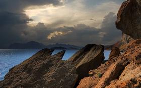 Картинка море, облака, горы, камни, скалы, тень, Черное