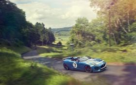 Обои дорога, машина, Concept, синий, Jaguar, концепт, ягуар