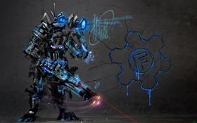 Обои трещины, оружие, стена, знак, робот, Фон, прицел
