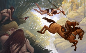 Картинка лес, конь, прыжок, арт, всадник, копье, ковбой