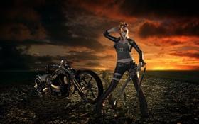 Обои девушка, мотоцикл, оружие