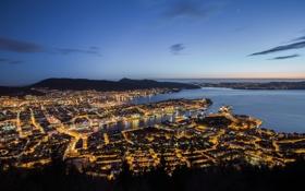 Картинка небо, огни, вечер, горизонт, Норвегия, залив, Берген