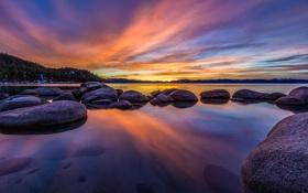 Обои камни, пейзаж, озеро, рассвет
