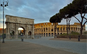 Обои Рим, Колизей, Италия, триумфальная арка Константина