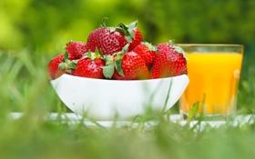 Картинка лето, ягоды, клубника, сок, миска, strawberry, fresh berries