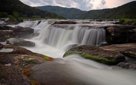 Картинка природа, камни, водопады, река, потоки