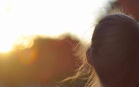 Картинка девушка, солнце, природа, фон, ветер, обои, настроения